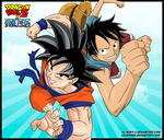 Goku and Luffy by Sauron88