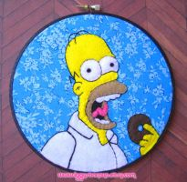 Homer Simpson Embroidery by iggystarpup