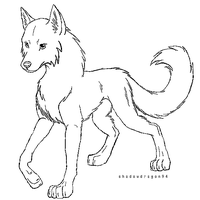 pixelated wolf line art by VexiWolf