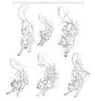 Spring Fox Tattoo Sketches by pallanoph