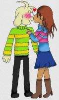 asriel x frisk (girl) by Judai-chan13