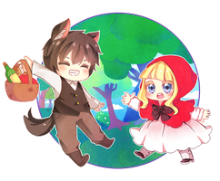 [OC]Little red riding hood and The wolf by NEZUMI-NA
