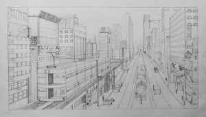 [Perspective Drawing] 1 point cityscape by hahn719