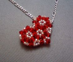 Red and Silver Heart Pendant by beadg1rl