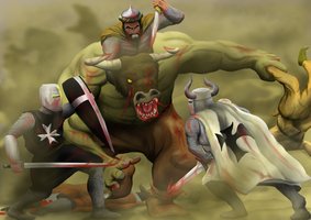 A Clash of Steel and Sand: Minotaur attack by a3dkid