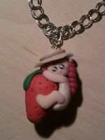 Necklace with a girl on a maxi strawberry fimo by bimbalove81