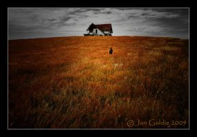 House + Hill + Girl + Meadow by JonGoldie