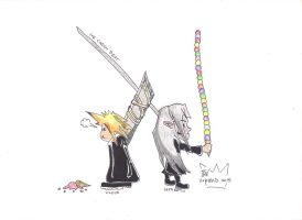 Ice Cream Beat  Between Cloud and Sephiroth. by UnderD85