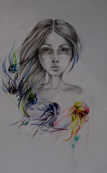 girl and jellyfishes by bilberry-art