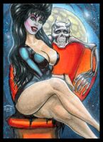 ELVIRA MISTRESS OF THE DARK SKETCH CARD by AHochrein2010