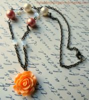 Vintage Peach Rose Necklace by Forbiddenynforgotten