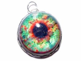 Red and Green tin eye pendant by glo0bule