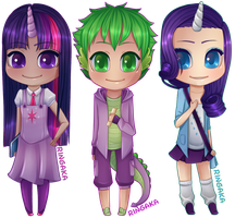 MLP:FIM chibi set [1/3] Twilight|Spike|Rarity by RingaButt