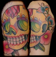 yellow sugar skull tattoo by exilink
