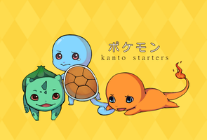 Pokemon Kanto Starters by sheepsgobaaa