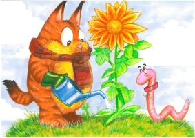 The Cat With The Scarf(c) and the Lovely  Flower by Hognatius