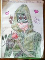 Oliver with red rose (made with ball pens) by MrsCromwell