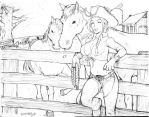 Cowgirl Sketch commission by Kandoken