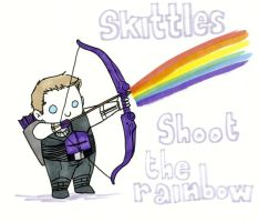 Clint Barton Shoot the Rainbow by KBDeliciousTriscuits