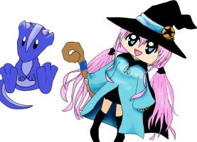 A Blue witch and her dragon by HAPPLES-XD