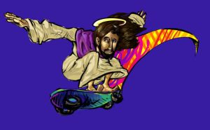 Holy Jesus on a skateboard by Super-Mario-Whirled