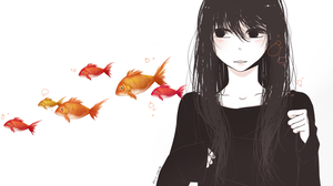 black haired girl and coloured goldfish by strawberry-queen1