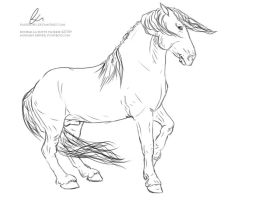 Half-Rearing Stallion Lineart. by paigepony