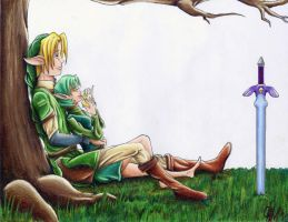 Link and Saria by frogmastr1