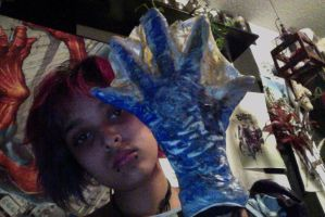 right hand turned into lizard by H-o-s-t
