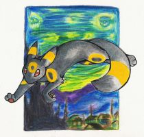umbreon starry night by glowyrm