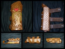 Celtic Leather Wrist Brace by leathercraft1990