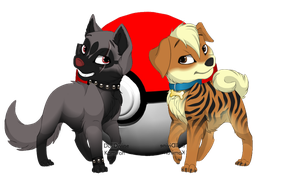 Poochyena and Growlithe by RayFloret