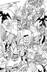 galvatron and crew lineart by markerguru