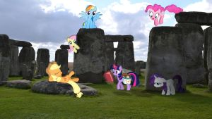 Mane 6 At Stonehenge by Macgrubor