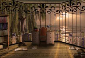 Study inside the Lantern House - background n. 1 by Simbores