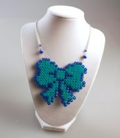Perler Necklace - Miku Bow by MelodyMaid