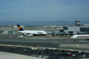 Airbus A380 in San Francisco by Dr-J-Zoidberg