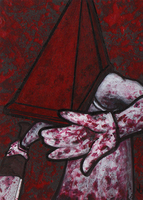 Pyramid Head painted card by Yamallow