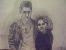 Mulder and Scully Sketch by XxKewonaWolfxX