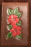 Iphone 5 leather carved case flovers floral by LeszekGyver