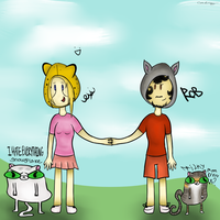 Rhino and Me Adventure Time Style with our kitties by catz537