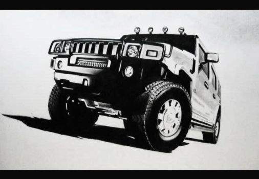 Hummer H2 Pencil Drawing by MTERM775