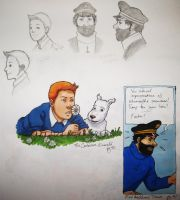 Tintin sketches by zalazny