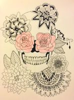 Floral Skull - Red by chelsea-fortune