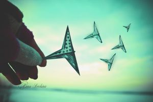 blue birds in my hand by mamimuno