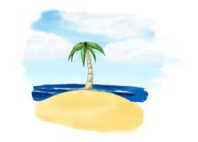 Beach with only one palm tree (Update) by kisala10