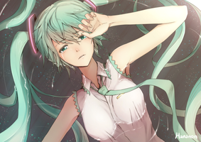 Sad Miku (+Coloring Video) by Hananon