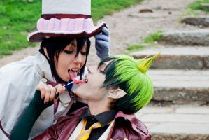 Amaimon and Mephisto, Kiss (?) by hakucosplay