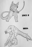 SpaceGodzilla and Orga design by artisticallyautistic