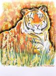 Tiger in a Field Version 2 (painting) by eyeqandy